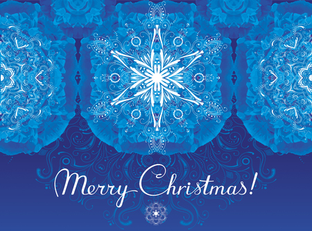 Christmas greeting card with Frost patterns and snowflakes Illustration