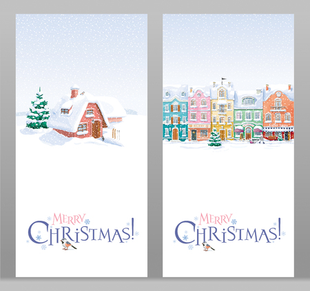 Winter rural landscape with small house and fir-tree under the snowfall. Two Christmas greeting cards.
