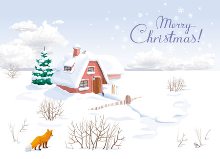 Winter rural landscape with small house and fir-tree. Image can be used as Christmas greeting card, banner or poster for sales and other Christmas events.