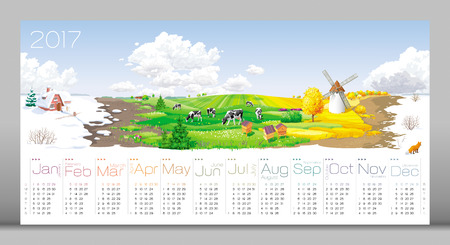 Calendar 2017 - all the year round - four seasons (winter, spring, summer, autumn) and 12 months of the year (with calendar grid on 2017) at a rural panorama with fields, cows, windmill and apiary