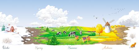 Das ganze Jahr über - ökologisches Konzept - nahtlose Landschaft mit vier Jahreszeiten (Winter, Frühling, Sommer, Herbst) des Jahres in einem ländlichen Panorama mit Wiesen, Kühe, Windmühle und Imkerei. Für Verpackungen, Plakate, Banner und Kalender.