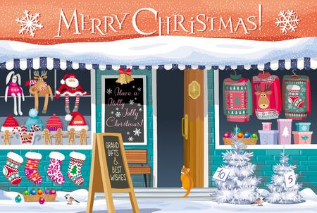 Showcase Gift Shop met kerst symbolen - wenskaart, banner of poster voor de verkoop en andere Kerst en Nieuwjaar evenementen.