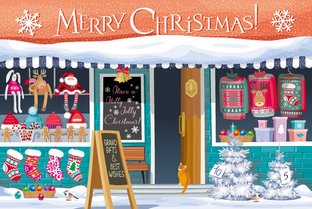 Showcase Gift Shop with Christmas symbols - greeting card, banner or poster for sales and other Christmas and New Year events. Illustration