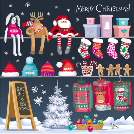 Set  of Christmas symbols, designed in the style of a showcase of the Gift shop for greeting card, banner or poster for sales and other Christmas and New Year events.