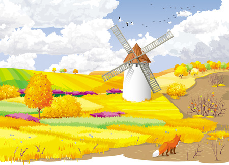 Autumn rural landscape with fields and windmill. Illustration