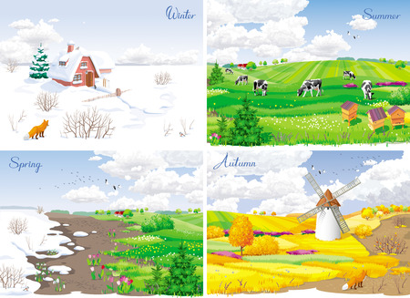 Four seasonal rural landscapes (winter, spring, summer, autumn) with fields, cows, windmill and apiary. Illustration