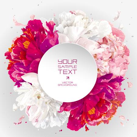 Luxueuze roze, rood en witte pioen achtergrond met een ronde papieren label voor de bruiloft, Dag, verkoop en andere evenementen Valentine's