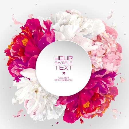 Luxurious pink, red and white peony background with a round paper label for wedding, Valentines Day, sales and other events Illustration