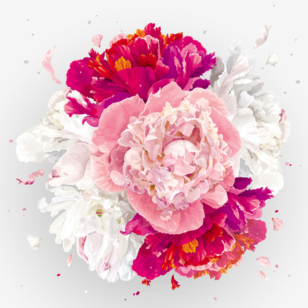 Luxurious pink, red and white peony flower spherical composition for wedding decoration, Valentines Day, sales and other events Ilustracja