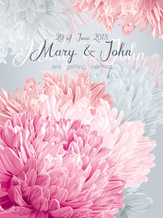 Wedding invitation card with pink vintage asters