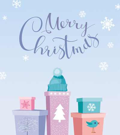 Chrismas Gifts - Merry Christmas vector card with calligraphic lettering design. Creative typography for holiday greeting cards, posters, banners for Christmas decoration.