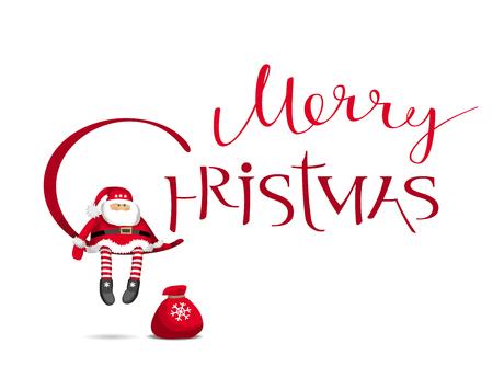 Merry Chrismas vector kaart met kalligrafische letters ontwerp met cartoon Santa Claus. Creatieve typografie voor vakantieverkoop, groetkaarten, affiches, banners voor Kerstmisdecoratie.