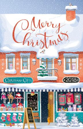 """Ein niedliches Vektorwinterhaus mit einem Weihnachtsmarkt im ersten Stock unter einem Schneefall und der kalligraphische Beschriftung """"frohe Weihnachten"""" - für Postkarten, Grußkarten, Poster, Fahnen, Verkäufe und andere Weihnachten und Neujahrsereignisse."""