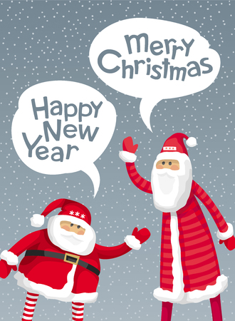 Big Santa and slim Santa wish you Merry Christmas and Happy New Year in the style of comics. Vector image for greeting cards, banners, posters, sales and other winter events. Illustration