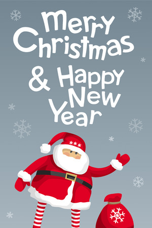 Merry Christmas and Happy New Year vector  card with calligraphic lettering design with cartoon Santa Claus . Creative typography for holiday sales, greeting cards, posters, banners for Christmas decoration.