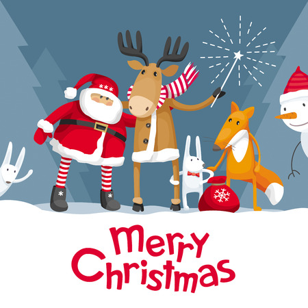 Vector Christmas greeting card. Santa Claus and cute forest animals: elk, deer, fox and hares wish you a Merry Christmas. For posters, banners, sales and other winter events.