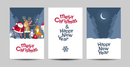 Set of Merry Christmas and Happy New Year vector cards with calligraphic lettering design with cartoon Santa Claus and cute forest animals. Creative typography for holiday sales, greeting cards, posters, banners for Christmas decoration.