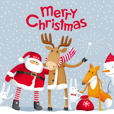 Vector Christmas greeting card. Santa Claus and cute cartoon forest animals: elk, deer, fox and hares wish you a Merry Christmas. For posters, banners, sales and other winter events.