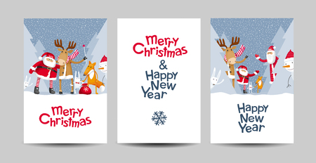 Set of Merry Christmas and Happy New Year vector cards with cartoon Santa Claus and cute forest animals. Templates for holiday sales, greeting cards, posters, banners for Christmas decoration. Illustration