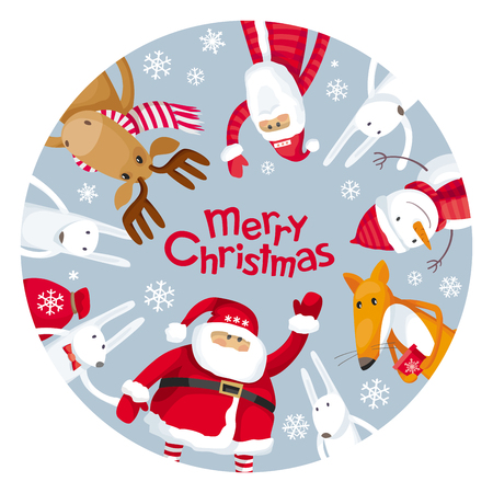 Vector Christmas greeting card with round plate. Santa Claus and funny cartoon forest animals: elk, deer, fox and hares wish you a Merry Christmas. For posters, banners, sales and other winter events. Vettoriali