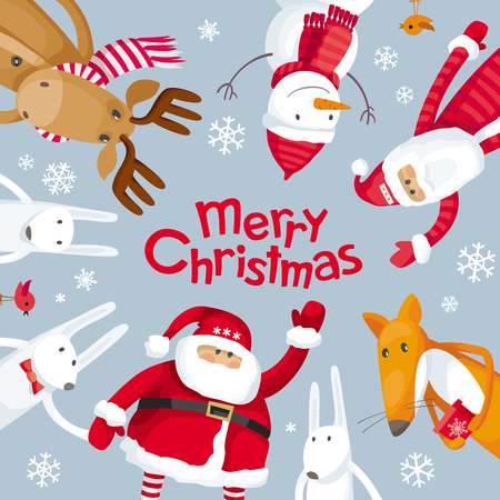 Vector Christmas greeting card. Santa Claus and funny cartoon forest animals: elk, deer, fox and hares wish you a Merry Christmas. For posters, banners, sales and other winter events.