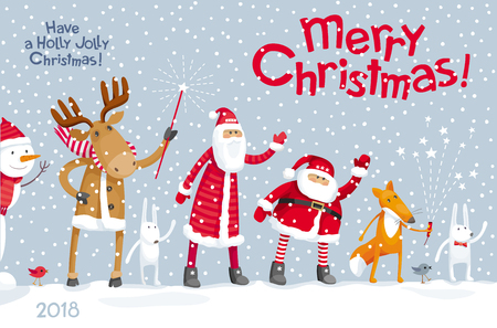 Vector Christmas greeting card -  Christmas Party in the winter forest with the participation of Santa Claus and funny cartoon forest animals: elk, deer, fox and hares. For posters, banners, sales and other winter events.