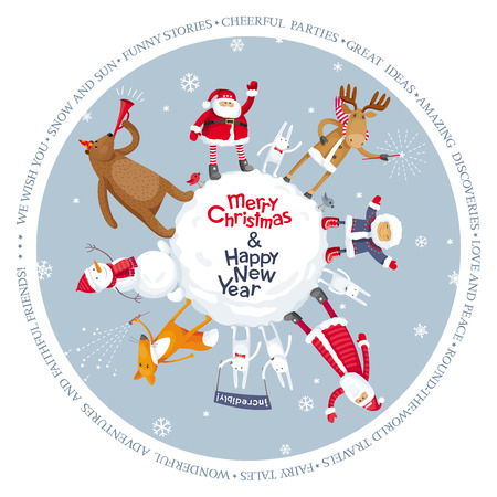 Christmas planet. Vector Merry Christmas image for greeting cards, posters, banners, sales and other winter events. 일러스트