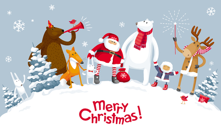 Christmas Party in the winter forest with the participation of Santa Claus and funny cartoon forest animals: elk, deer, fox, hares, bear and polar bear. For posters, banners, sales and other winter events. Vettoriali