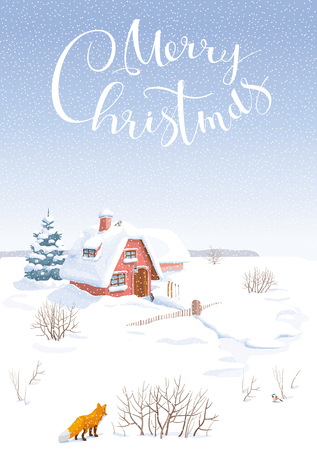 Winter rural vector landscape with small house and fir-tree. Image can be used as Christmas card, banner or poster for sales and other Christmas events. Illustration