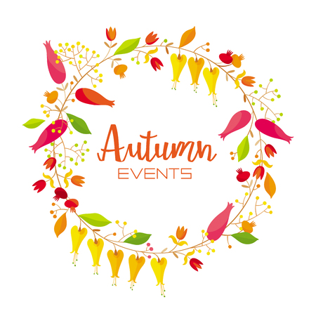 Stylized wreath of flowers and autumn leaves vector composition. Illustration