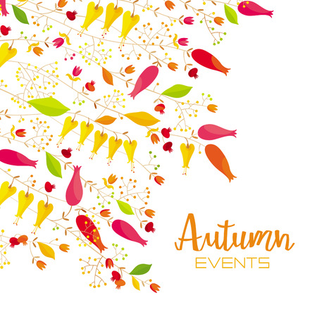Stylized  flowers and leaves autumn and summer vector composition.