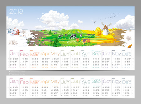 Calendar for 2018 Year - all the year round - four seasons and 12 months of the year (with two different calendar grids on 2018) at a rural panorama with fields, cows, windmill and apiary Illustration