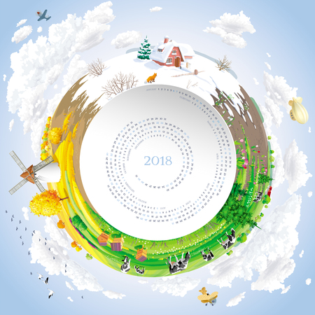Round vector calendar for 2018 Year  with twirled calendar grid and four seasons rural landscape Illustration