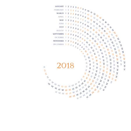 Round vector calendar grid for 2018 year