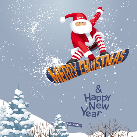 Merry Christmas and Happy New year,  vector Christmas card for snowboarders - Santa grabs. His  snowboard  in  xmas style. For  posters, banners, sales and other winter events.