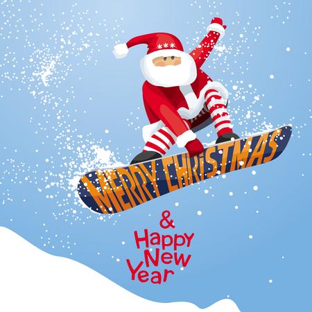Santa grabs his snowboard in  xmas style. Illustration