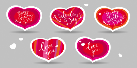 Set of vector hearts  greeting cards for the Valentines day