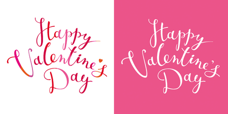 Happy Valentines Day vector card with calligraphic hand drawn lettering design. Creative typography for sales, greeting cards, posters, banners and decoration.