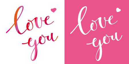 Love you. Vector card with calligraphic hand drawn lettering design for Valentines Day. Creative typography for greeting cards and decoration.