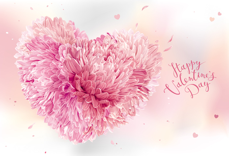Pink Heart of flowers for Valentines Day. Valentines card template