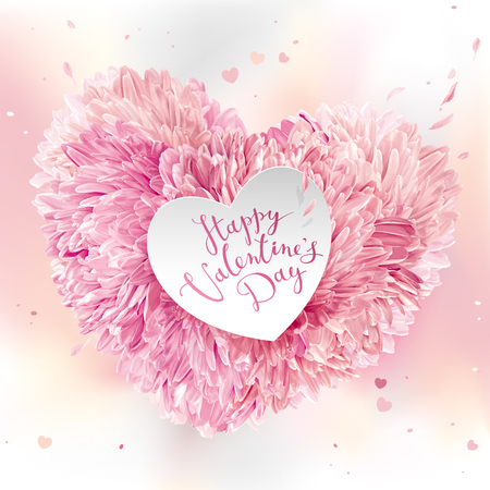 Pink Heart of flowers  for Valentines Day. Valentines card