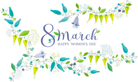 8 March floral vector greeting card - fresh spring meadow flowers composition with lettering design.