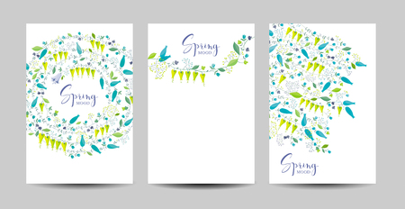 Vector set  of the spring meadow flowers and herbs vector floral backgrounds for Valentine's Day, wedding,  Mother's Day, 8 March, sales and other events, for prints, greeting cards, posters, invitations.