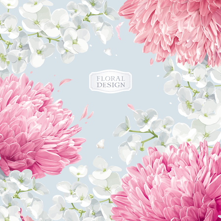 Chrysanthemums and Apple blossom. Flower vector background  in watercolor style for greeting card, wedding invitations, decoration, posters, banners, sales