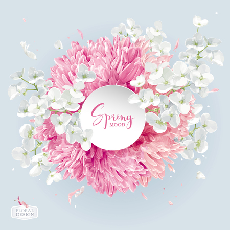 Modern floral vector  art - luxurious Chrysanthemums and Apple blossom arrangement with a round paper label in watercolor style for 8 March, wedding, Valentines Day,  Mothers Day, sales and other events. Illustration