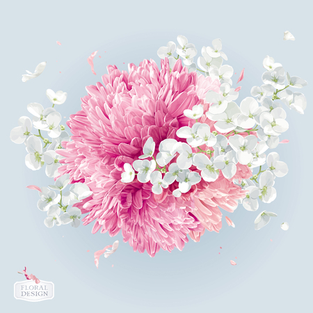 A Modern floral vector art - luxurious Chrysanthemums and Apple blossom round arrangement in watercolor style for 8 March, wedding, Valentine's Day, Mother's Day, sales and other events.  イラスト・ベクター素材