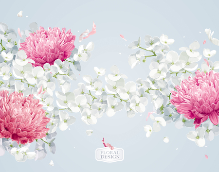 Chrysanthemums and Apple blossom. Flower vector background  in watercolor style for greeting cards, wedding invitations, decoration, posters, banners, sales