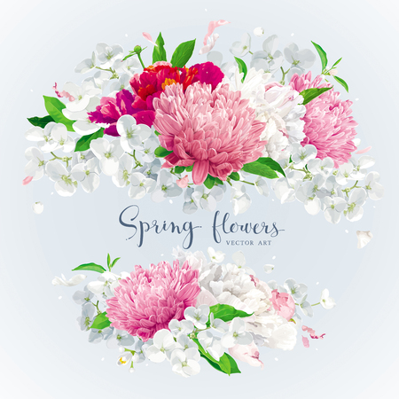Summer vintage floral round composition with blooming Chrysanthemums, Asters, Hydrangeas, Peonies and Apple blossom. Vector illustration. Illustration