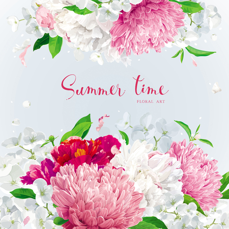 Summer vintage floral background with blooming Chrysanthemums, Asters, Hydrangeas, Peonies and Apple blossom and other garden flowers.