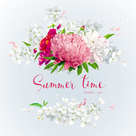 Summer vintage floral round composition with blooming Chrysanthemums, Asters, Hydrangeas, Peonies and Apple blossom and other garden flowers. Stock Illustratie